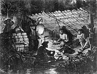 0119553 © Granger - Historical Picture ArchiveLOUISIANA: FUGITIVE SLAVES.   Escaped slaves hiding under a lean-to in the swamps of Louisiana. Wood engraving by James L. Langridge, c1873.