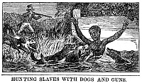 0260112 © Granger - Historical Picture ArchiveRUNAWAY SLAVE, 1840.   'Hunting slaves with dogs and guns.' Engraving from the American Anti-Slavery Almanac, 1840.