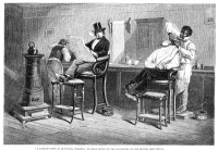0006262 © Granger - Historical Picture ArchiveRICHMOND BARBERSHOP, 1850s.   A barber's shop at Richmond, Virginia. Wood engraving, English, 1861, after a painting by Eyre Crowe, based on his travels in the United States as secretary to novelist William Makepeace Thackeray during his American tour of 1852-53.