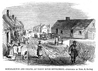 0006915 © Granger - Historical Picture ArchiveFREEDMEN'S VILLAGE, 1866.   The freedman's settlement at Trent River, North Carolina. Wood engraving from an American newspaper of 1866.