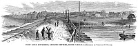 0006916 © Granger - Historical Picture ArchiveFREEDMEN'S VILLAGE, 1866.   The freedman's settlement at Trent River, North Carolina. Wood engraving from an American newspaper of 1866.