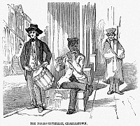 0067045 © Granger - Historical Picture ArchiveNEGRO LIFE, c1850.   A white drummer and a black flutist busking in Charleston, South Carolina. Wood engraving, English, c1850.