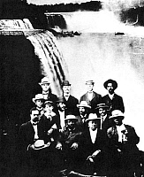 0000922 © Granger - Historical Picture ArchiveNIAGARA MOVEMENT, 1905.   The 1905 conference of the Niagara Movement at Fort Erie, Ontario. Top row (left to right): H.A. Thompson, Alonzo F. Herndon, John Hope, James R.L. Diggs; second row: Frederick McGhee, Norris B. Herndon, J. Max Barber, W.E.B. Du Bois, Robert Bonner; bottom row: Henry L. Bailey, Clement G. Morgan, W.H.H. Hart, B.S. Smith.