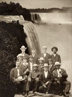 0408784 © Granger - Historical Picture ArchiveNIAGARA MOVEMENT, 1905.   Founding members of the Niagara Movement superimposed over Niagara Falls. Top row (left to right): H.A. Thompson, Alonzo F. Herndon, John Hope, James R.L. Diggs; center row: Frederick McGhee, Norris B. Herndon, J. Max Barber, W.E.B. Du Bois, Robert Bonner; front row: Henry L. Bailey, Clement G. Morgan, W.H.H. Hart, B.S. Smith.