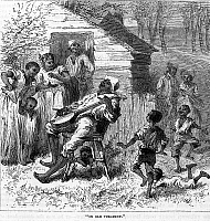 0013085 © Granger - Historical Picture ArchivePLANTATION LIFE.   'In Ole Virginny.' Black sharecroppers on a farm in Virginia. Wood engraving, American, 1876.