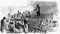 0265698 © Granger - Historical Picture ArchiveCOTTON PLANTATION, 1867.   'Prayer Meeting.' Wood engraving, 1867, after a drawing by A.R. Waud.