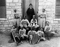 0078705 © Granger - Historical Picture ArchiveCOLLEGE BASEBALL, c1899.  Baseball players from Morris Brown College in Atlanta, Georgia. Photograph, c1899, exhibited by W.E.B. du Bois in the Paris Exposition of 1900.