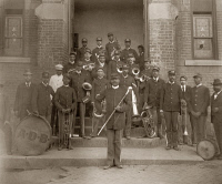 0622353 © Granger - Historical Picture ArchiveGEORGIA: BAND, c1900.   African American members in a band, posed in front of a building in Georgia. Photograph, c1900.