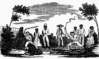 0101551 © Granger - Historical Picture ArchiveSLAVERY: PUNISHMENT.   Punishing slaves in the American South. Wood engraving, c1850.