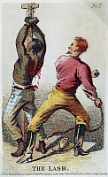 0116639 © Granger - Historical Picture ArchiveSLAVERY: PUNISHMENT.   'The Lash.' A bound African American slave being whipped by a white overseer. Color lithograph by Henry Louis Stephens, c1863.