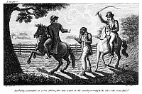 0130729 © Granger - Historical Picture ArchiveWHIPPING, 1817.   'Barbarity committed on a free African, who was found on the ensuing morning, on the side of the road, dead!' Wood engraving, American, 1817.