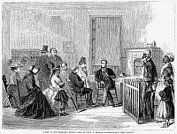0006596 © Granger - Historical Picture ArchiveFREEDMEN'S BUREAU, 1867.   'A peep at the Freedmen's Bureau office of Lieutenant S. Merrill, superintendent third district.' The Freedman's Bureau at Richmond, Virginia. Wood engraving from an American newspaper, 1867.