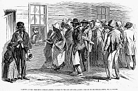 0006598 © Granger - Historical Picture ArchiveFREEDMEN'S BUREAU, 1866.   The Freedman's Bureau at Richmond, Virginia, issuing rations to the elderly and sick. Wood engraving from an American newspaper of 1866.
