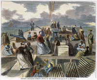 0008854 © Granger - Historical Picture ArchiveBLACK EMIGRANTS, 1867.   Black emigrants on the deck of a steamer bound for New York from Richmond, Virginia, 1867. Contemporary American wood engraving.