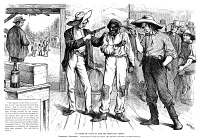 0018344 © Granger - Historical Picture ArchiveFORCING THE BLACK VOTE.   Southern Democrats forcing black voters to vote the Democratic ticket. Cartoon published in an American magazine just before the presidential election of 1876.