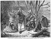 0039821 © Granger - Historical Picture ArchiveRECONSTRUCTION, 1868.   'Colored people gathering firewood - A winter scene in Virginia.' Wood engraving, 1868, from a contemporary American newspaper.