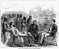 0040974 © Granger - Historical Picture ArchiveFREEDMEN'S BUREAU, 1866.   Office of the Freedmen's Bureau, Memphis, Tennessee. Wood engraving from an American newspaper of 1866.
