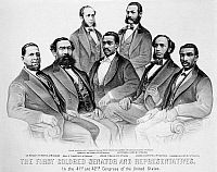 0049020 © Granger - Historical Picture ArchiveBLACK SENATORS, 1872.   The First Colored Senators and Representatives in the 41st and 42nd Congress of the United States. Lithograph, 1872, by Currier & Ives.