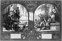 0108081 © Granger - Historical Picture ArchiveNAST: EMANCIPATION.   Cartoon showing a slave being purchased prior to 1863 (left) and a slave being whipped for a crime after emancipation. Wood engraving, 1863, after Thomas Nast.