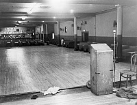 0621346 © Granger - Historical Picture ArchiveMALCOLM X: ASSASSINATION.  The Audubon Ballroom in Washington Heights, Manhattan, where Malcolm X was assassinated on 21 February 1965. Photograph by Stanley Wolfson, 1965.