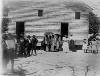 0622429 © Granger - Historical Picture ArchiveGEOGIA: CHURCH, c1899.   African American standing outside of a church in Georgia. Photograph, c1899.