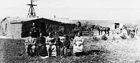 0087788 © Granger - Historical Picture ArchiveBLACK HOMESTEADERS.   The Moses Speese family outside their sod house near Westville, Nebraska. Photograph, late 19th century.