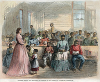0008341 © Granger - Historical Picture ArchiveFREEDMEN'S SCHOOL, 1866.   'Primary school for Freedmen, in charge of Mrs. Green, at Vicksburg, Mississippi.' Wood engraving, American, 1866.