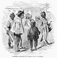0089494 © Granger - Historical Picture ArchiveBLACK SCHOOL CHILDREN.   Children on their way to a 'School for Colored Children,' a Freedmen's School, in a Southern town. Wood engraving, American, 1867.