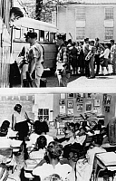 0105293 © Granger - Historical Picture ArchiveSEGREGATED SCHOOLS, 1961.   Top: White students boarding buses for private schools. Bottom: African American students attending school in a one-room schoolhouse. Photographed in Farmville, Virginia, 1961.