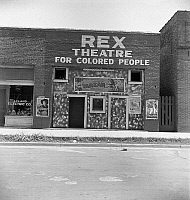 0123096 © Granger - Historical Picture ArchiveSEGREGATED THEATRE, 1937.   The Rex Theatre 'For Colored People' in Leland, Mississippi. Photograph by Dorothea Lange, June 1937.