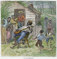 0104555 © Granger - Historical Picture ArchiveSHARECROPPERS, 1876.   'In Ole Virginny.' Black sharecroppers on a farm in Virginia. Wood engraving, American, 1876.