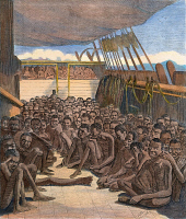 0009466 © Granger - Historical Picture ArchiveCAPTURED SLAVE SHIP, 1860.   Slave deck of the bark Wildfire, a slave ship captured by the USS Mohawk off the coast of Cuba and brought to Key West, Florida, on 30 April 1860. Contemporary colored engraving.