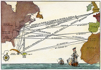 0011201 © Granger - Historical Picture ArchiveTRIANGULAR TRADE MAP.   Map of the 'Triangular Trade' between Britain, its American colonies, and Africa in the 17th and 18th centuries. Engraving, 19th Century.