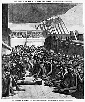 0012483 © Granger - Historical Picture ArchiveSLAVERY: SLAVE SHIP, 1860.   Slave deck of the bark 'Wildfire,' a slave ship captured by USS Mohawk off the coast of Cuba and brought to Key West, Florida, on 30 April 1860. Contemporary wood engraving.