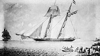 0032890 © Granger - Historical Picture ArchiveAMISTAD SLAVE MUTINY, 1839.   The Spanish slave ship 'Amistad' at anchor off Culloden Point, Long Island, following a mutiny by African slaves on board, 26 August 1839. The U.S. revenue cutter 'Washington' is shown at left. Contemporary painting by an unknown artist.