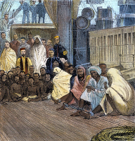 0039140 © Granger - Historical Picture ArchiveAFRICA: SLAVE SHIP, 1888.   African and Arab prisoners in leg irons aboard a slave ship off the east coast of Africa. English engraving, 1888.