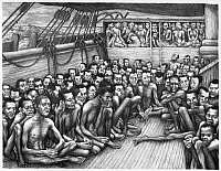 0116591 © Granger - Historical Picture ArchiveSLAVERY: SLAVE SHIP.   Freed male and female slaves crowded on the deck of a sailing ship. Lithograph by Bernarda Bryson Shahn, c1935.