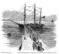 0260151 © Granger - Historical Picture ArchiveFLORIDA: RESCUED SLAVES.   Slaves disembarking from the USS Wyandotte at Key West, Florida, after being rescued from the illegal slave ship Bark William. Engraving from a photograph by David Lawrence, 1860.