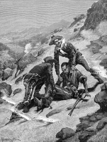 0028168 © Granger - Historical Picture ArchiveBUFFALO SOLDIER, 1886.   The rescue of Corporal Scott by Lieutenant Clark, both of the 10th (Colored) Cavalry, under Apache fire. Wood engraving, 1886, after Frederic Remington.