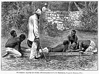 0015281 © Granger - Historical Picture ArchiveSLAVERY: WEST INDIES.   'Punishing Slaves in Cuba.' Line engraving from an American newspaper of 1868.