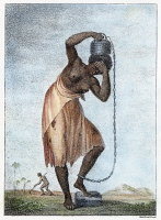 0028311 © Granger - Historical Picture ArchiveSURINAM: PUNISHMENT, 1796.   A female slave with weighted chain, from the Dutch colony of Surinam. Aquatint by Francesco Bartolozzi from the 'Narrative of an Expedition against the Revolted Negroes of Surinam' by J.G. Stedman, published in 1796.