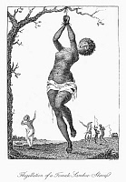 0041124 © Granger - Historical Picture ArchiveSURINAM: PUNISHMENT, 1796.   Flagellation of a female lamboe slave. Line engraving by William Blake from the 'Narrative of an expedition against the Revolted Negroes of Surinam' by J.G. Stedman, published in 1796.