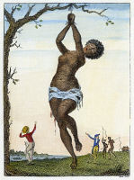 0041125 © Granger - Historical Picture ArchiveSURINAM: PUNISHMENT, 1796.   Flagellation of a female lamboe slave. Line engraving by William Blake from the 'Narrative of an expedition against the Revolted Negroes of Surinam' by J.G. Stedman, published in 1796.
