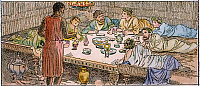 0044127 © Granger - Historical Picture ArchiveANCIENT ROME: HOUSE SLAVE.   A slave serving the diners in the triclinium of a weatlhy home in ancient Rome. Drawing, c1935.