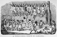 0130736 © Granger - Historical Picture ArchiveSLAVERY: TREAD MILL, 1834.   'A Tread-Mill Scene in Jamaica.' Wood engraving, 1834.