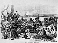 0130738 © Granger - Historical Picture ArchiveAFRICA: SLAVE TRADE, c1840.   'Slave Market Scene on the Gambia River, Coast of Africa.' Wood engraving after the 1840 painting 'The Slave Trade,' by Francois Biard.