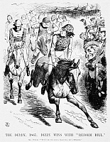 0006641 © Granger - Historical Picture ArchiveGLADSTONE & DISRAELI, 1867.   'The Derby, 1867. Dizzy Wins With Reform Bill.' A cartoon by Sir John Tenniel, 1867, from 'Punch' showing Benjamin Disraeli finishing just ahead of William Gladstone in the 'Reform Derby.'