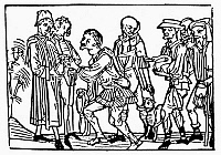 0028131 © Granger - Historical Picture ArchivePEASANTS PAYING TAXES.   Peasants paying taxes to their lord in both money and in livestock. Woodcut, 15th century.