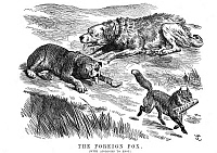 0037423 © Granger - Historical Picture ArchiveCAPTIAL & LABOR CARTOON.   'The Foreign Fox.' English cartoon, 1890, by John Tenniel showing foreign powers as the only parties to benefit from the disputes between capital and labor in Britain.