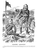 0045538 © Granger - Historical Picture ArchiveFASHODA AFFAIR, 1898.   'Marchez! Marchand!' Contemporary English cartoon by Sir John Tenniel on the meeting between General Horatio Kitchener and French captain Jean-Baptiste Marchand at Fashoda, Sudan, 19 September 1898.